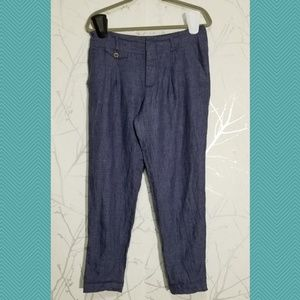Zara Periwinkle Blue Linen High Rise Tapered Pants